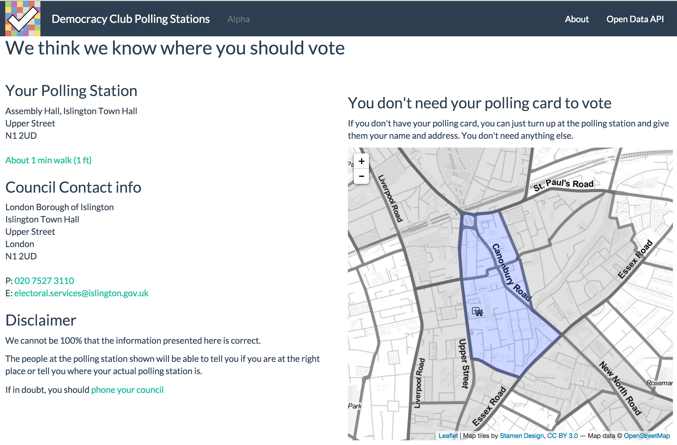 screen shot of the Democracy Club Polling Station Finder